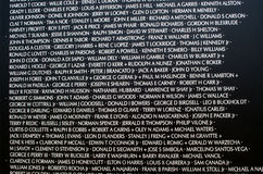 Names at the vietnam war memorial Stock Image