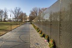 Names on Vietnam War Veterans Memorial in Washington DC, USA. Names on Vietnam War Veterans Memorial on December 17, 2017 in Washington DC, USA. The memorial Stock Photo