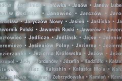 The names of those who died in the Holocaust. A window in the Holocaust museum with the museum in the background Royalty Free Stock Photos
