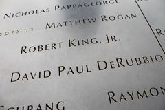 911 Memorial, Lower Manhattan, NYC. Names of those who perished during 911 are displayed the 911 Memorial in Manhattan, NYC Royalty Free Stock Image