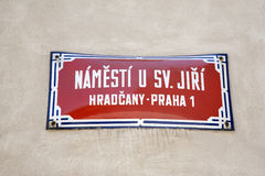 Namesti Street Sign; Hradcany Neighborhood; Prague Stock Image