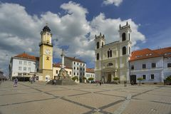 Namestie SNP square at Banska Bystrica. Slovakia, with The clock tower and the St. Francis Xavier Cathedral Stock Image