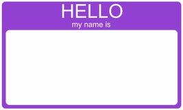 Nametag пурпура здравствуйте! Стоковые Фотографии RF