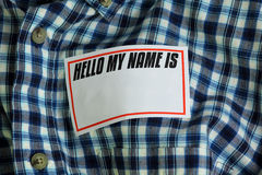 Nametag. Empty name tag on a shirt Royalty Free Stock Photography