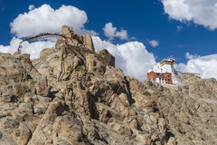Namgail Tsemo monastery up on hill, landmark of Leh city, Ladakh Stock Photos