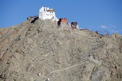 Namgyal Tsemo修道院在Leh,拉达克 免版税图库摄影