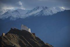 Namgyal Tsemo Gompa从后面和雪山脉背景Leh,拉达克,印度 免版税库存图片