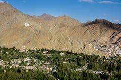 Namgyal Tsemo Gompa and Leh village, Ladakh, India Stock Photos