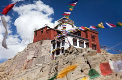 Namgyal Tsemo Gompa with prayer flags - Leh - Ladakh - India Royalty Free Stock Photos