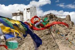 Namgyal Tsemo Gompa with prayer flags - Leh - Ladakh - India Stock Photo