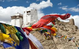 Namgyal Tsemo Gompa with prayer flags Royalty Free Stock Photo