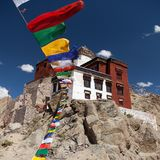 Namgyal Tsemo Gompa with prayer flags Stock Photos