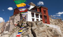 Namgyal Tsemo Gompa with prayer flags Royalty Free Stock Images