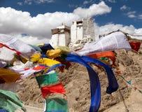 Namgyal Tsemo Gompa with prayer flags Royalty Free Stock Photo