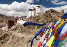 Namgyal Tsemo Gompa with prayer flags Royalty Free Stock Photos
