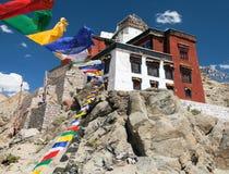 Namgyal Tsemo Gompa with prayer flags - Leh - Ladakh Royalty Free Stock Images