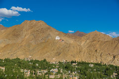 Namgyal Tsemo Monastery,Leh Ladakh.Light and shade from sunset. Royalty Free Stock Images