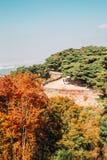 Namhansanseong forteca i jesieni klonowi drzewa w Korea Obrazy Stock