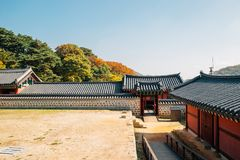Namhansanseong Fortress, Korean old traditional house with autumn maple at Gwangju, Korea. Namhansanseong Fortress, Korean old traditional house with autumn stock image