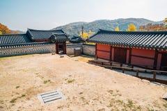 Namhansanseong Fortress, Korean old traditional house with autumn maple at Gwangju, Korea. Namhansanseong Fortress, Korean old traditional house with autumn royalty free stock images