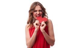 Namiętna brunetka gryźć valentine kartę Obrazy Royalty Free