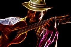Namiętny Afro mężczyzna Bawić się gitarę Zdjęcia Stock