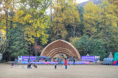 Nami Island, South Korea. Nami Island is famous with the beautiful tree lanes and is the shooting place of the Winter Sonata drama Stock Image