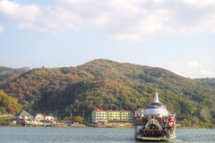 Nami Island, South Korea. Ferry to Nami Island, South Korea. Nami Island is famous with the beautiful tree lanes and is the shooting place of the Winter Sonata Royalty Free Stock Photos