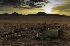 Namib ökensolnedgång Arkivfoton