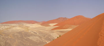 Namib Desert. Dunes in the Namib desert, shot taken from atop dune 45 in Sossusvlei, Namibia Stock Photo