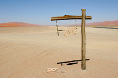 Signpost in Namib desert. Broken signpost in Namib desert on sunny day in Sossusvlei, Namibia stock photography