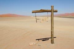 Signpost in Namib desert Stock Photography