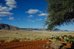 Namib Desert (Namibia). View from a desert camp on a dune in the Namib Desert (Namibia royalty free stock photo