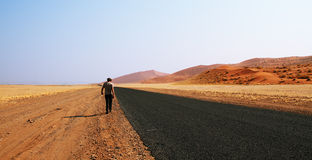 Namib Desert - Road through desert of Namib in Namibia Royalty Free Stock Images