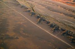 Namib desert road from the sky Royalty Free Stock Photos