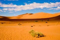 Namib-Naukluft公园,纳米比亚沙漠,橙色沙丘蓝天,白色云彩, Sossusvlei,纳米比亚 免版税库存图片