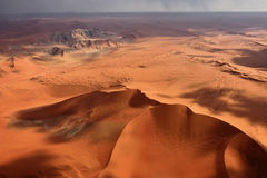 Namib-Naukluft National Park, Namibia, Africa. Aerial view of high red dunes, located in the Namib Desert, in the Namib-Naukluft National Park of Namibia, Africa Royalty Free Stock Photography