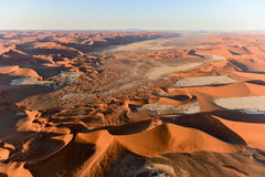 Namib Sand Sea - Namibia. Aerial view of high red dunes, located in the Namib Desert, in the Namib-Naukluft National Park of Namibia royalty free stock images