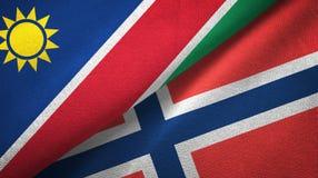 Namibië en Noorwegen twee vlaggen textieldoek, stoffentextuur stock illustratie
