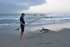 Namibië, haai visserij Stock Foto
