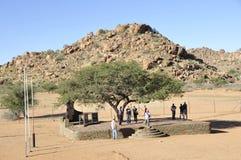 Namibië: Sam Khubis Memorial, waar Baster-de Mensen strijd waren stock afbeelding