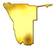 Namibia 3d Golden Map Stock Image