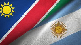 Namibia and Argentina two flags textile cloth, fabric texture. Namibia and Argentina flags together textile cloth, fabric texture stock illustration