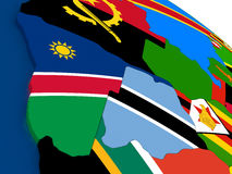 Namibia and Botswana on 3D map with flags Royalty Free Stock Photo