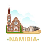 Namibia country design template Flat cartoon style. Namibia country magnet design template. Flat cartoon style historic sight showplace web site vector Royalty Free Stock Image