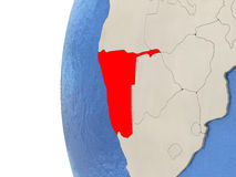Namibia on 3D globe. Map of Namibia on globe with watery blue oceans and landmass with visible country borders. 3D illustration royalty free illustration
