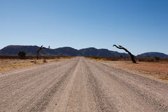 Namibia. Dirt namibian road from Mariental to Sossusvlei Royalty Free Stock Photo