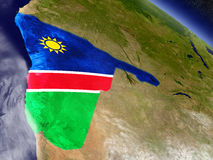 Namibia with embedded flag on Earth Royalty Free Stock Photos