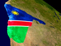 Namibia with flag on Earth Stock Photos