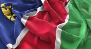 Namibia Flag Ruffled Beautifully Waving Macro Close-Up Shot Royalty Free Stock Photos